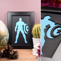 Captain America Framed Artwork - 13cm x 18cm