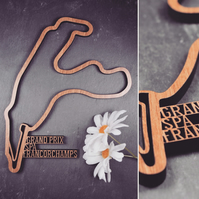 40cm (approx) - Laser cut Grand Prix Circuit - Spa Francorchamps Wall decoration