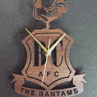 Bradford City FC Crest Clock. Bantams clock. Gift for Bradford fans