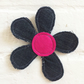 Recycled Denim Flower Brooch - Pink