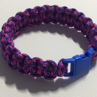 pink and blue paracord bracelet