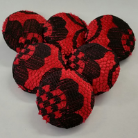 25mm Large Red Velvet with Black Lace Overlay Fabric Covered Loop Back Buttons