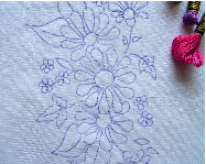 Ready to Embroider Pillow Case, Floral, Embroidery Design, Pattern