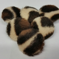 25mm, Large, Furry, Animal Print, Fabric Covered, Shank Buttons