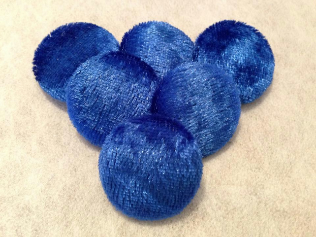 20mm, Medium, Blue Crushed Velvet, Fabric Covered Shank Buttons