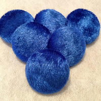 16mm, Small, Blue Crushed Velvet, Fabric Covered, Metal Loop Back, Buttons