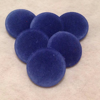 31mm Large, Blue Velvet, Fabric Covered Shank Buttons