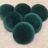 25mm Large, Green Velvet, Fabric Covered Shank Buttons