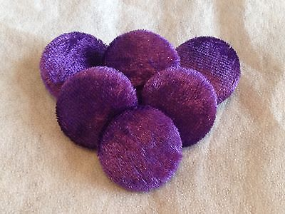 20mm, Medium, Purple, Crushed Velvet, Fabric Covered, Metal Loop Back Buttons