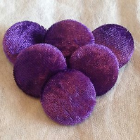 Purple, Crushed Velvet, Fabric Covered, Buttons Different Button & Pack Sizes