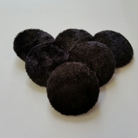 Large, Black Crushed Velvet, Fabric Covered Buttons - Choice of Pack Size
