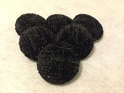 25mm Large, Black Chenille, Fabric Covered Loop Back Buttons