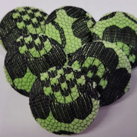25mm Large Green Velvet with Black Lace Overlay Fabric Covered Loop Back Buttons