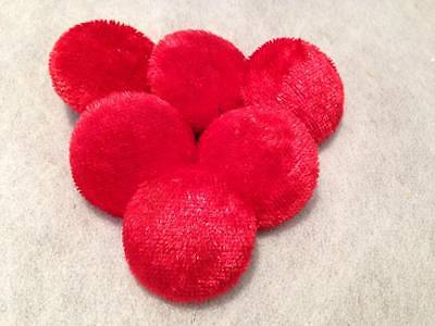 Large Red Crushed Velvet Fabric Covered Buttons. Choice of Pack Sizes