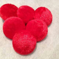 Choice of Button & Pack Sizes - Red Crushed Velvet Fabric Covered Buttons