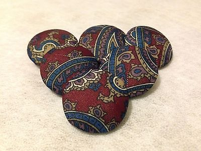 25mm, Large, Paisley, Fabric Covered, Shank Buttons - Pack of 6 Buttons