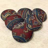 25mm, Large, Paisley, Fabric Covered, Loop Back Buttons