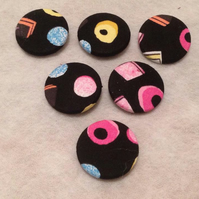 31mm, Large, Liquorice Allsorts Patterned, Fabric Covered, Loop Back Buttons x 6