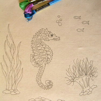 Ready to Embroider, Tote bag, with Unique, Embroidery Design, Pattern, Seahorse