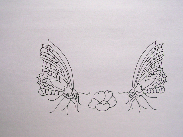 Ready to Embroider, Pillow Cases with Unique Embroidery Design Butterfly Pattern
