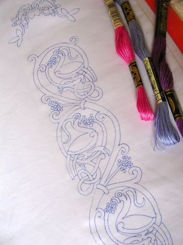 Ready to Embroider Pillow Cases, with Unique Embroidery Celtic Design Pattern