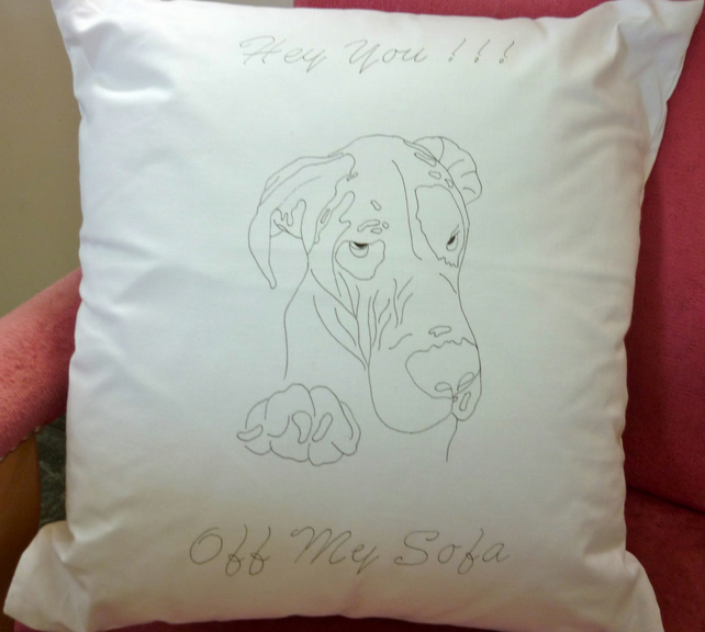 Ready to Embroider, Cushion Cover, with Unique, Embroidery Great Dane Pattern