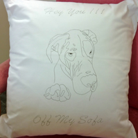 Ready to Embroider, Cushion Cover, with Unique Embroidery Great Dane Design