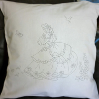 Ready to Embroider, Cushion Cover, with Unique Embroidery Design, Crinoline Lady