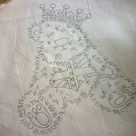 Ready to Embroider, Tote Bag, with Unique Bear, Embroidery Design, Pattern