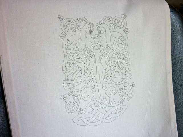 Ready to Embroider, Tote Bag, with Unique Celtic, Embroidery Design, Pattern