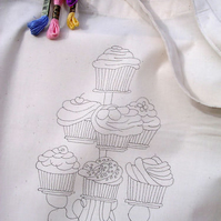 Ready to Embroider, Tote Bag, with Unique Cupcake, Embroidery Design, Pattern