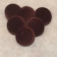 25mm Large, Brown Velvet, Fabric Covered Shank Buttons