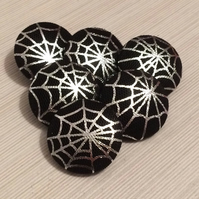 25mm Large Black Halloween, Gothic, Spiders Web, Fabric Covered Buttons
