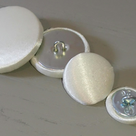 6 x 31mm Extra Large Cream Satin Covered Fabric Buttons