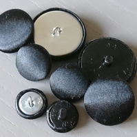 Huge Black Satin Buttons - Available in Different Pack Sizes