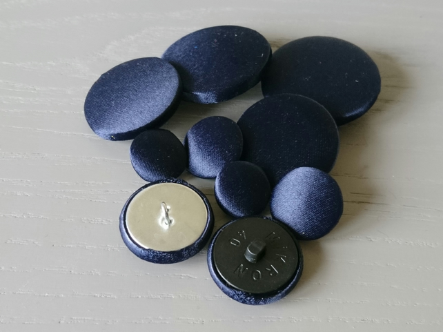 Extra Large Navy Satin Buttons - Available in Different Pack Sizes