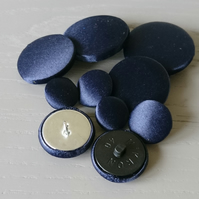 Navy Blue Satin Buttons - Available in Different Pack Sizes