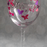 Hand painted & Personalised Wine Glass, Made to Order.  Butterfly Trail Design.