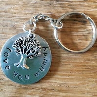 Hand Stamped Pewter Keyring (can be personalised)