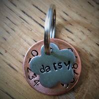 Hand Stamped Copper and Pewter Dog Tag with Charm