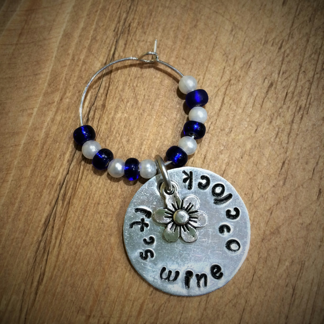 Hand stamped personalised wine glass charm