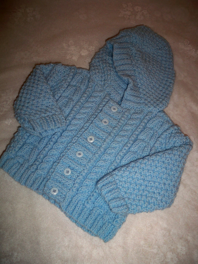 BABY or TODDLER HAND KNITTED ARAN LUMBER JACKET WITH HOOD (12-24m)