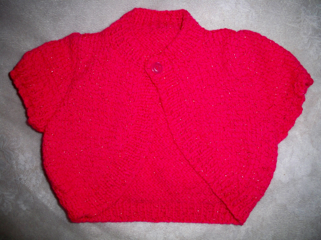 BABY TODDLER CARDI CARDIGAN JACKET BOLERO to fit 3-6 months - CERISE PINK