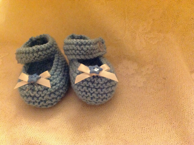 BABY SHOES in BLUE with RIBBON and BUTTON at FRONT AND SINGLE ANKLE STRAP
