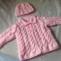 Pink Baby Girl Coat Jacket with Matching Pull On Hat