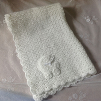 Luxury Hand Crocheted Baby Blanket in White Shimmer with Pram Motif
