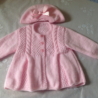Beautiful Pink Hand Knitted Baby Coat with Beret Hat  with Ribbon Bow to Match