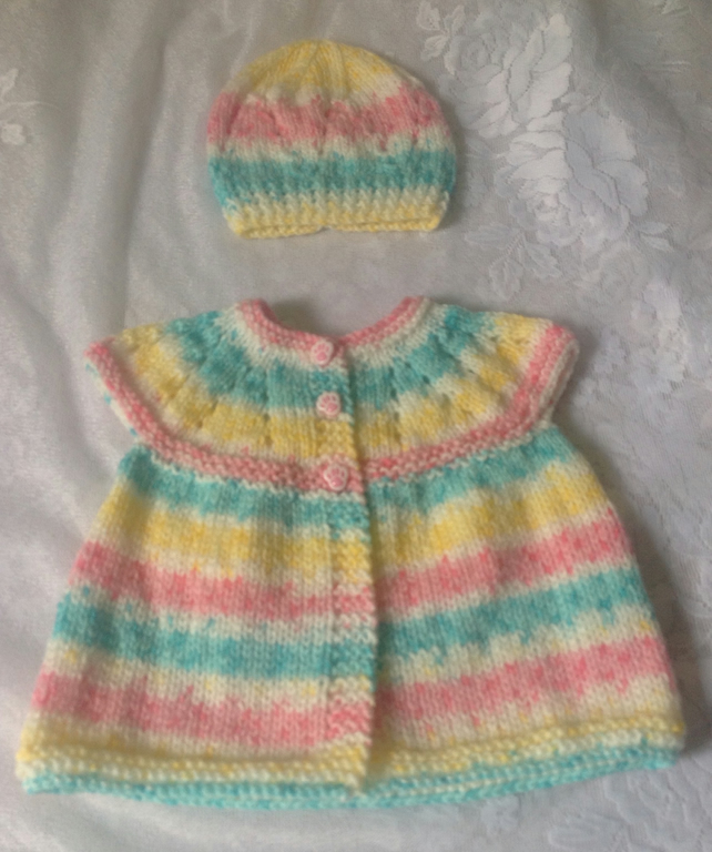 Beautiful Baby Jacket Matinee Coat with Beanie Hat to Match