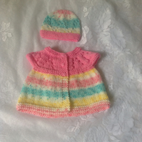 Baby Jacket with Hat in Two Contrast Shades to fit newborn
