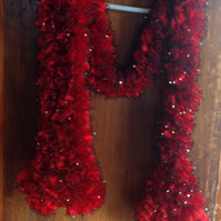Luxurious Red Sequin Hand Knitted Scarf 60""